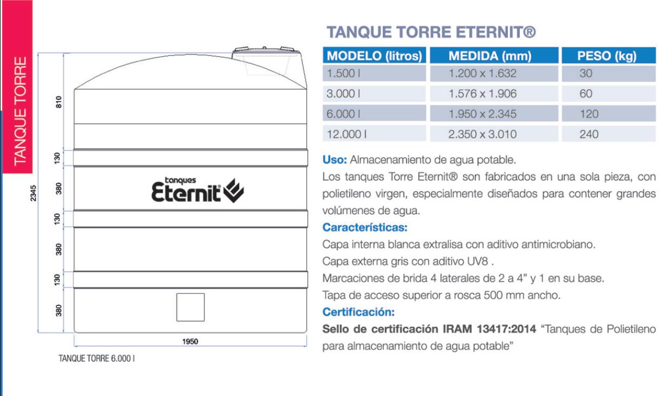 Tanque de agua tricapa eternit torre 1500 lts materialespro for Tanques de agua eternit